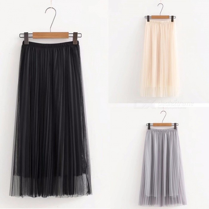 Long Tulle Skirts Womens Summer Elastic High Waist Mesh Tutu Pleated Black Beige Gray Skirts Beige/One Size