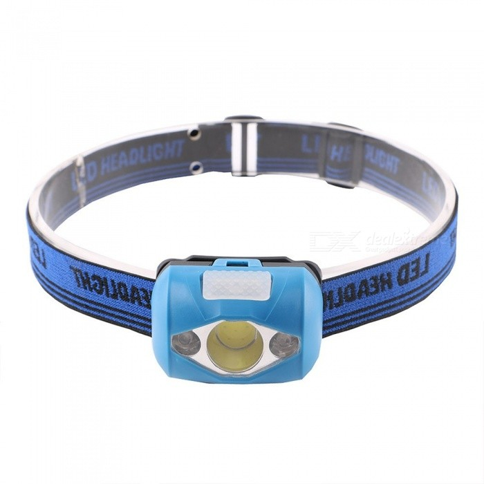 Mini Portable COB +2R LED Headlamps With Red Warning Light Outdoor Waterproof Lighting White/Blue