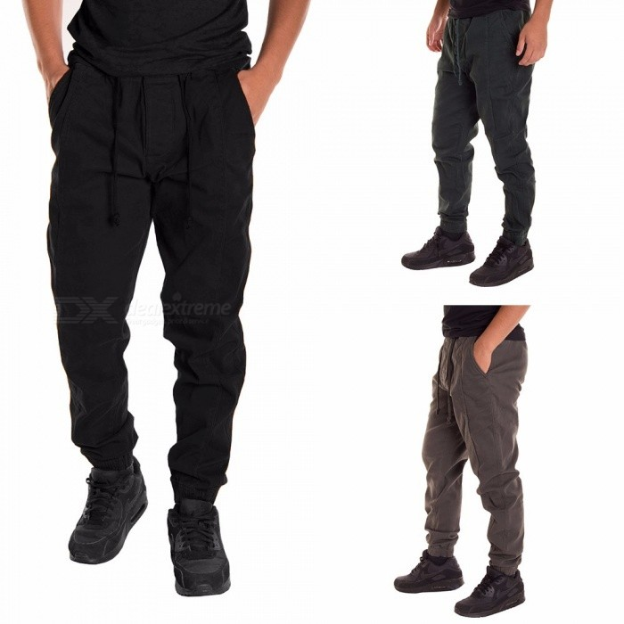 Men\'s Trousers Casual Loose Elastic Waist Sashes Solid Color Soft Sport Pencil Pants With Pocket Black/M