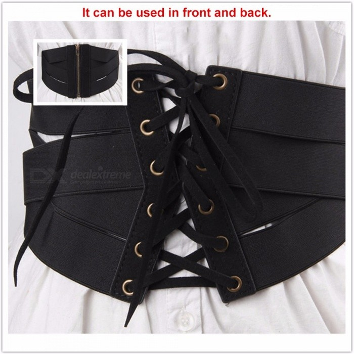 Fashion Super Wide Waist Belt For Women Elastic Lace-up PU Leather Cummerbund For Dress Shirt Coat Decoration Black/One Size