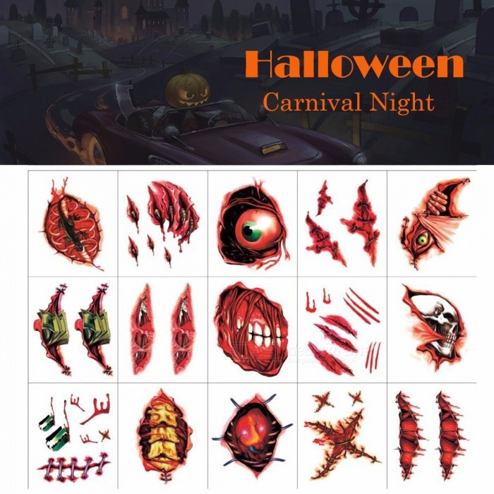 Halloween Tattoo Stickers Simulation Temporary Wound Scar Blood Suture Injury Decorate Waterproof Burgundy