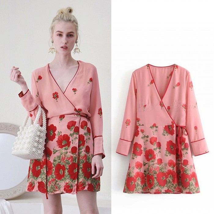 Autumn Vintage Dress New V-Neck Sashes Floral Print High Waist Dresses For Women Pink/S