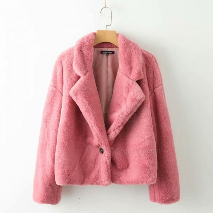 Autumn Winter Women\'s Faux Fur Coats Warm Soft Single Button Pink Suit Collar Jackets Casual Fuzzy Outerwear Pink/S