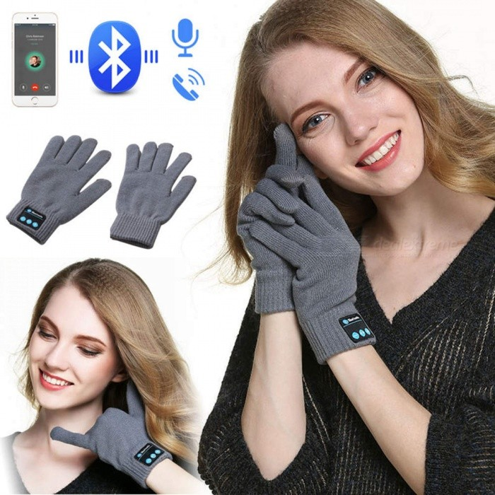 ESAMACT Rechargeable Wireless Bluetooth Music Headset Speaker, Smart Touch Screen Warm Knit Gloves