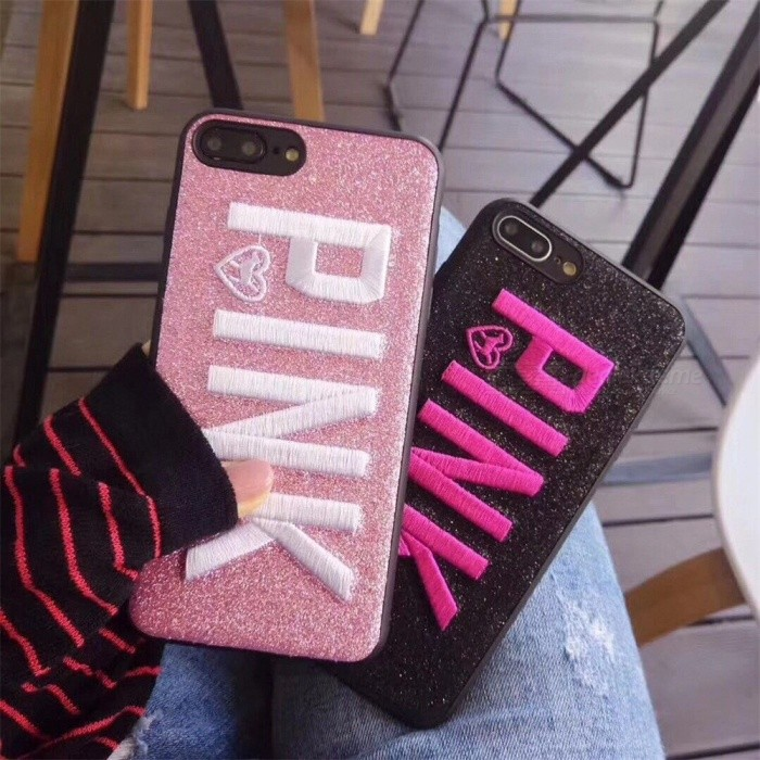 Ultra Thin Victoria's Secret Embroidery PINK Letter Pattern Soft Phone Case Cover For IPHONE 7 / 8 / X, 7 Plus, 8 Plus Black/iphone7/8