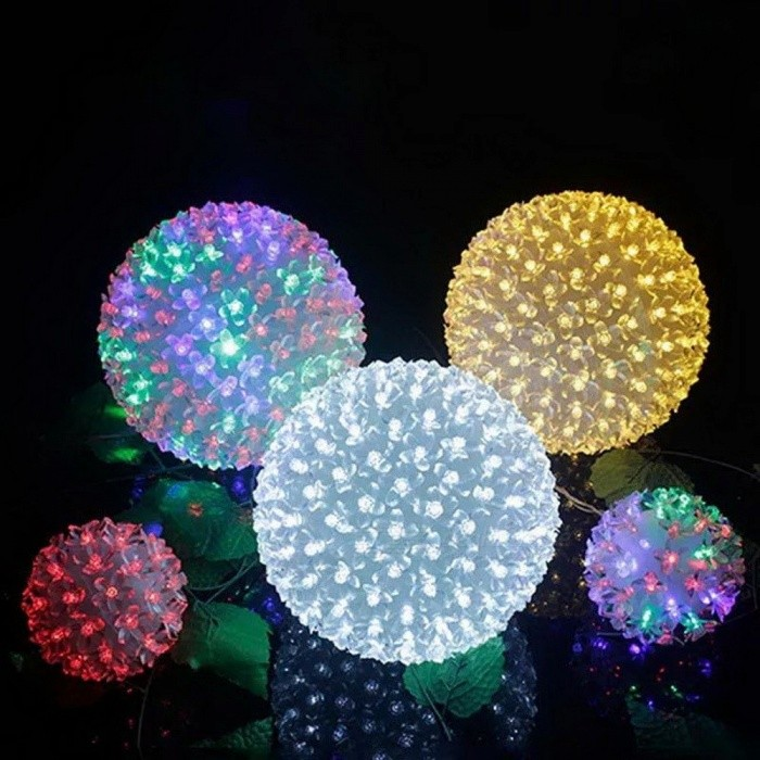 200-LED Cherry Blossom Peach Flower Ball Light Lamp, Holiday Christmas Wedding Party String Light - EU Plug RGB/0-5W