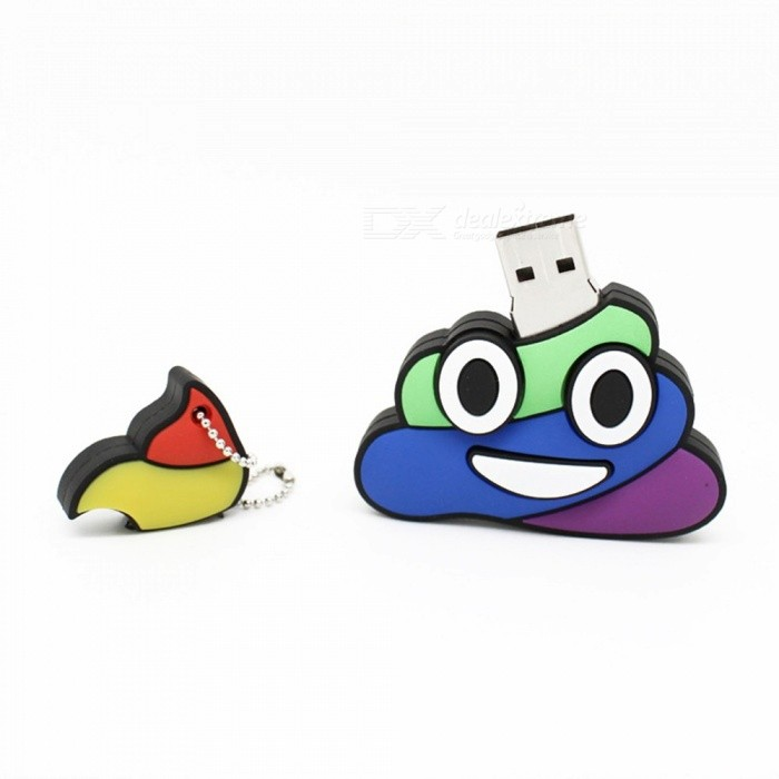 Cute Cartoon Emoji Shit Poo Shape USB 2.0 Flash Drive, Mini Memory Stick Pen Drive Pendrive U Disk 4GB/White