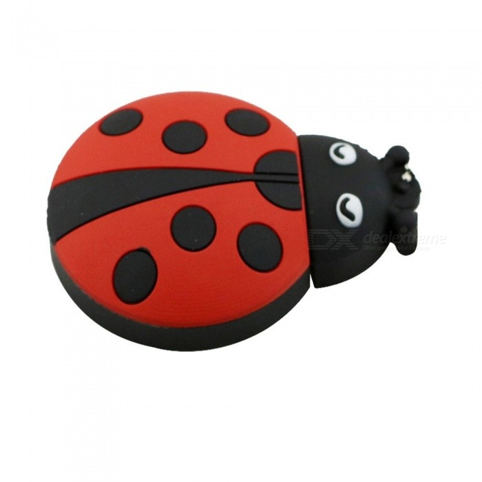 Cute Ladybug Pen Drive, Beetle USB Flash Drive Memory Stick U Disk With Metal Chain 8GB/Red