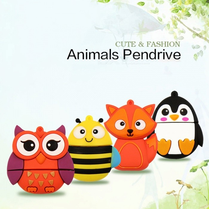 Creative Gift Cartoon USB Flash Drive, Owl Fox Bee Penguin Pen Drive Flash Memory Stick U Disk-Random Style