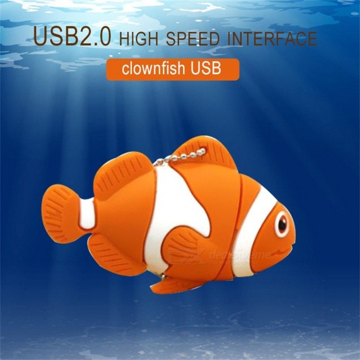 Cartoon Clownfish USB Flash Drive, USB 2.0 Pendrive Pen Drive Memory Stick U Disk 8GB/Red
