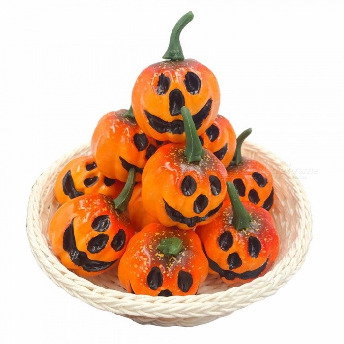 12Pcs/Lot Mini Small Pumpkins Fall Foam Simulation Grimace And Smile Pumpkin, Halloween Party Supplies Artificial Fruit M/Orange