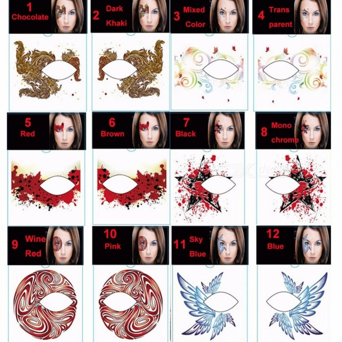 Waterproof Sweat-proof Temporary Tattoos Stickers Body Art For Christmas Halloween Dancing Party Light Black