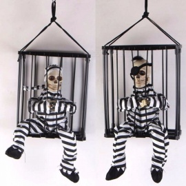 Halloween-Horror-Props-Haunted-House-Tricky-Toy-Infrared-Induced-Glowing-Sound-Toy-Classic-Cage-Prisoner-Hanging-Ghost-Black