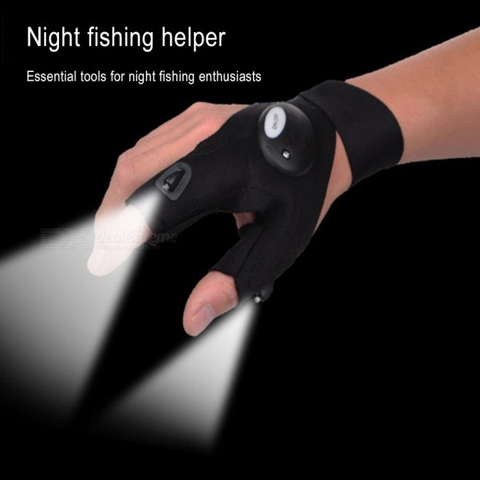 Luminous Illuminated Fishing Gloves, Sports Repair Lighting Gloves, Outdoor Repair LED Torch Light Tool (1 PC) Black/One Size