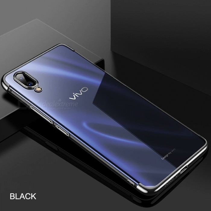 Lightweight Ultra Thin Slim Clear Plating Soft Flexible TPU Case Cover Shell For Vivo X23 Black