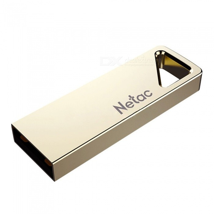Netac U326 Mini Portable Waterproof Metal USB 2.0 Flash Drive Memory Stick Pendrive With Keychain Hole 8GB/Gold
