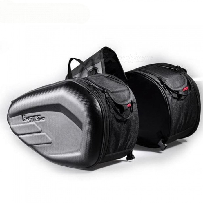 GHOST RACING Motorcycle Dual Side Saddle Bag Multifunctional Travel Cycling Quick-Opening Storage Bag For Helmet Black