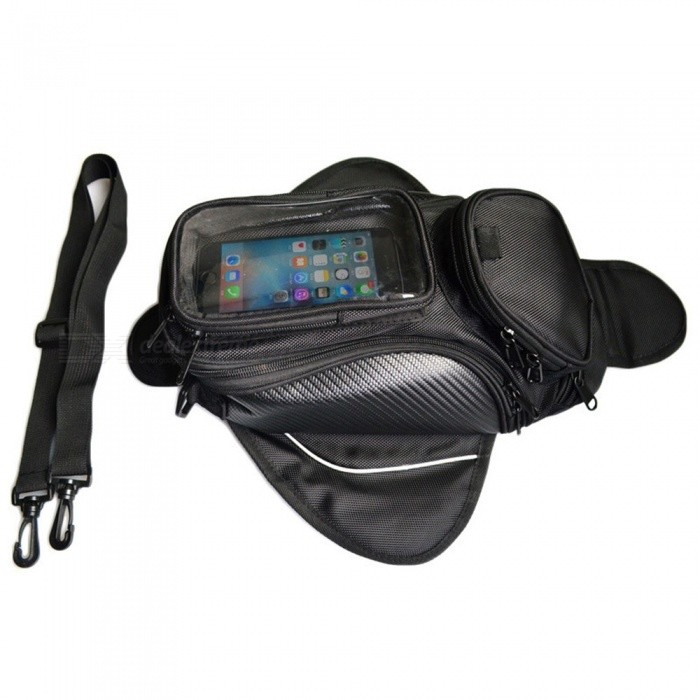 Outdoor Riding Motorcycle Tank Bag Multi-pocket Nylon Zipper Storage Bag With Large Transparent Mobile Phone Touch Pouch Black