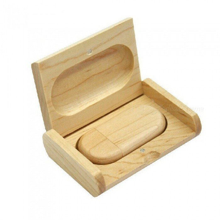 Stylish Oval Shaped Wooden USB 2.0 Flash Drive Mini Portable Flash Disk With Wood Storage Box 8GB/Yellow