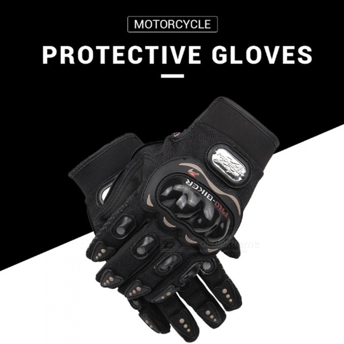 PRO-BIKER 1 Pair Motorcycle Motocross Cycling Gloves Shockproof Riding Racing Tactical Gloves Outdoor Protective Gear Black/M
