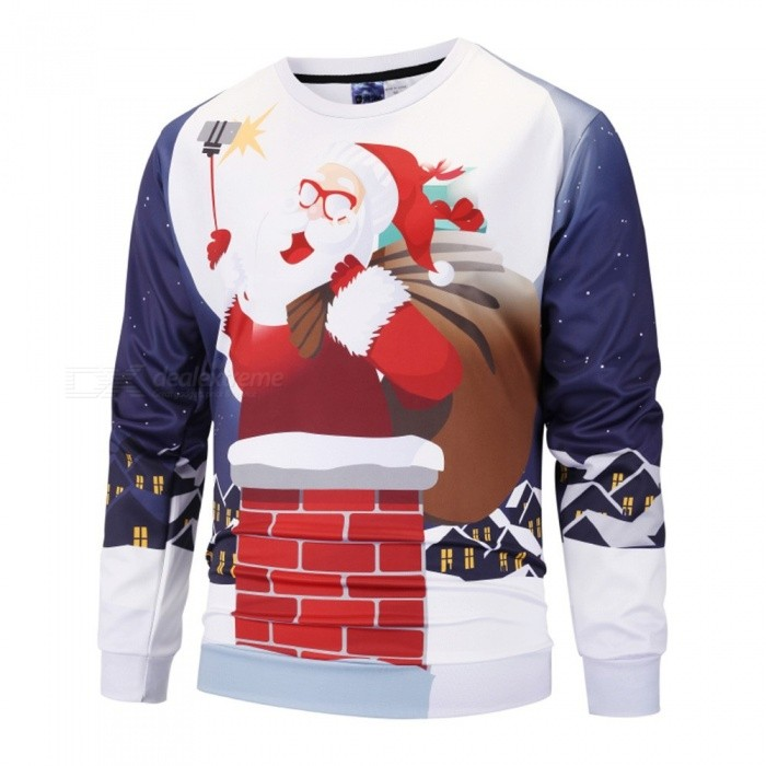 Autumn Winter Santa Claus Taking Photo Print Sweatshirt For Men Casual O-Neck Long Sleeve Pullover Top Sweatshirt Red/M