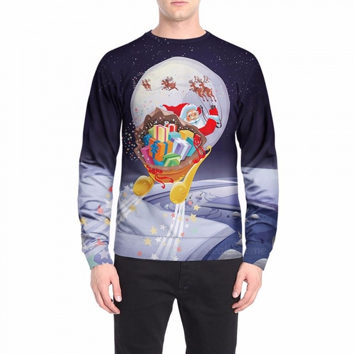 Autumn Winter Santa Claus On Sleigh Print Sweatshirt For Men Casual O-Neck Long Sleeve Pullover Top Sweatshirt Blue/M