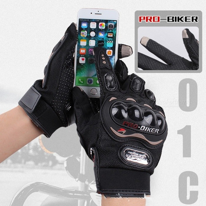 PRO-BIKER 1 Pair Outdoor Motorcycling Cycling Riding Warm Touch Screen Full Finger Gloves For Men Black/M