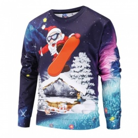 Autumn Winter Santa Claus On Skateboard Print Sweatshirt For Men Casual  O-Neck Long Sleeve 64a8f6a55