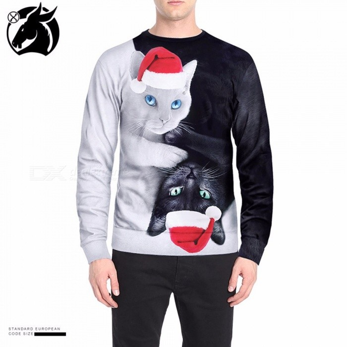 Stylish Contrast Color Christmas Hat Cats Print Swearshirt For Men Casual Loose Long Sleeve Shirt Top White/M