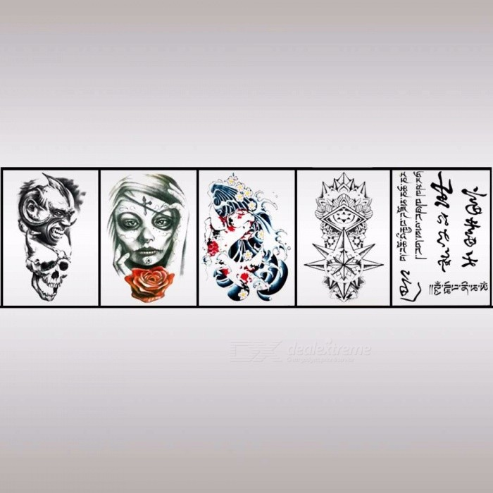 HB-088~HB-135 Waterproof Body Art Half Arm Temporary Tattoo Stickers Long Lasting For Men Women Light Black