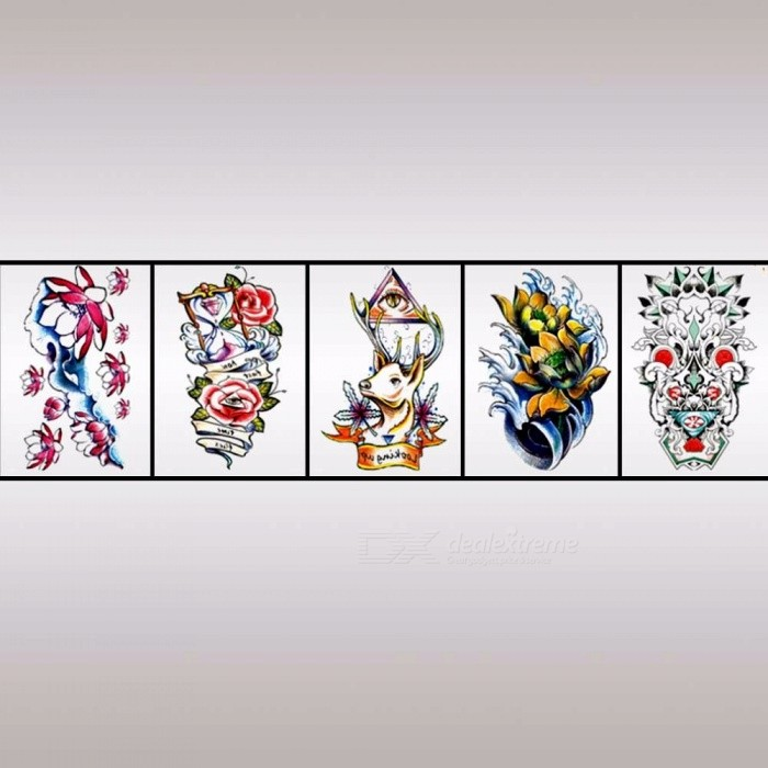 HB-066~HB-085 Waterproof Body Art Half Arm Temporary Tattoo Stickers Long Lasting For Men Women Pink