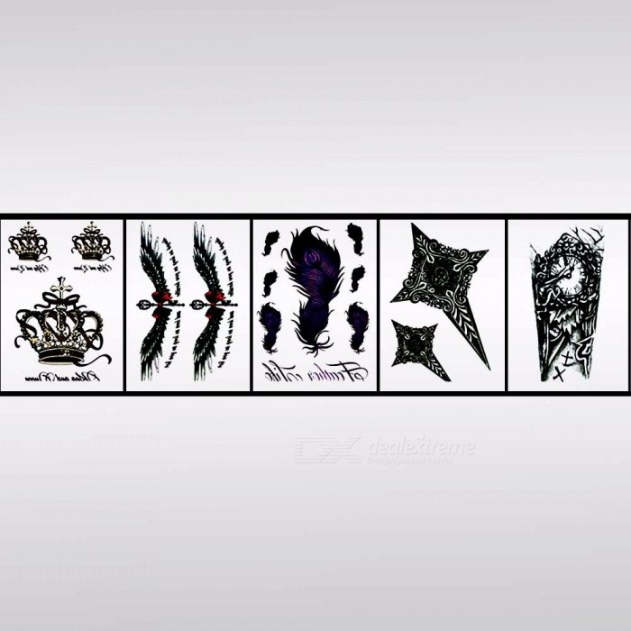 HB-031~HB-050 Waterproof Body Art Half Arm Temporary Tattoo Stickers For Men Women Light Black