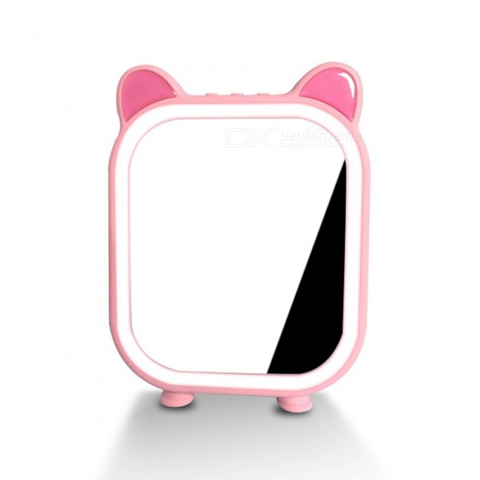 Multifunctional-Vanity-Mirror-With-Bluetooth-Speaker-Rechargeable-LED-Makeup-Mirror-With-Touch-Control-Brightness-PinkRGB
