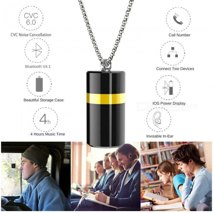 ESAMACT Mini Bluetooth Headset, Necklace Metal Earbud, BT V4.1 Invisible Wireless Car Earphone with Mic