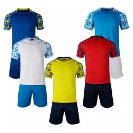 Quick-dry-Breathable-Two-piece-Short-Sleeve-Soccer-Training-Sports-Clothes-For-Men-Durable-Mens-Football-Training-Suit-BlueM