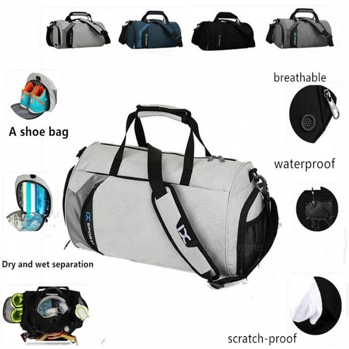 Outdoor Sports Waterproof Swimming Gym Bag Dry And Wet Separation Handbag Travel Shoulder Bag With Space For Shoes Light Grey