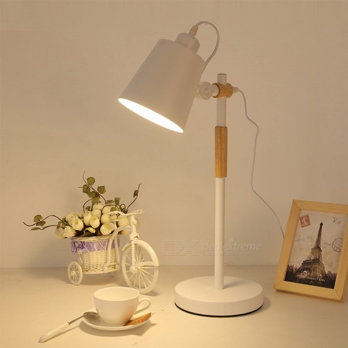 Nordic And Modern Minimalist Iron Desk Lamp E27 LED Eye Protection Reading Lamp With Adjustable Lampshade Random Emitting Color
