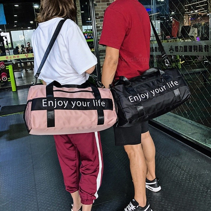 Fashion-Outdoor-Sports-Fitness-Gym-Bag-Dry-And-Wet-Separation-Handbag-Travel-Crossbody-Shoulder-Bag-With-Space-For-Shoes-Pink