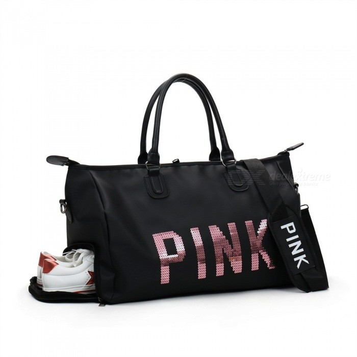 Sequins Pink Fitness Gym Bag Women Sports Handbag Outdoor Travel Camping Multifunction Shoulder With Shoes E Black