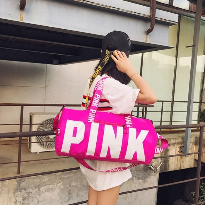 Pink Letters Print Fitness Gym Bag Men Women Sports Handbag Outdoor Travel Camping Multifunction Shoulder Bag Light Grey