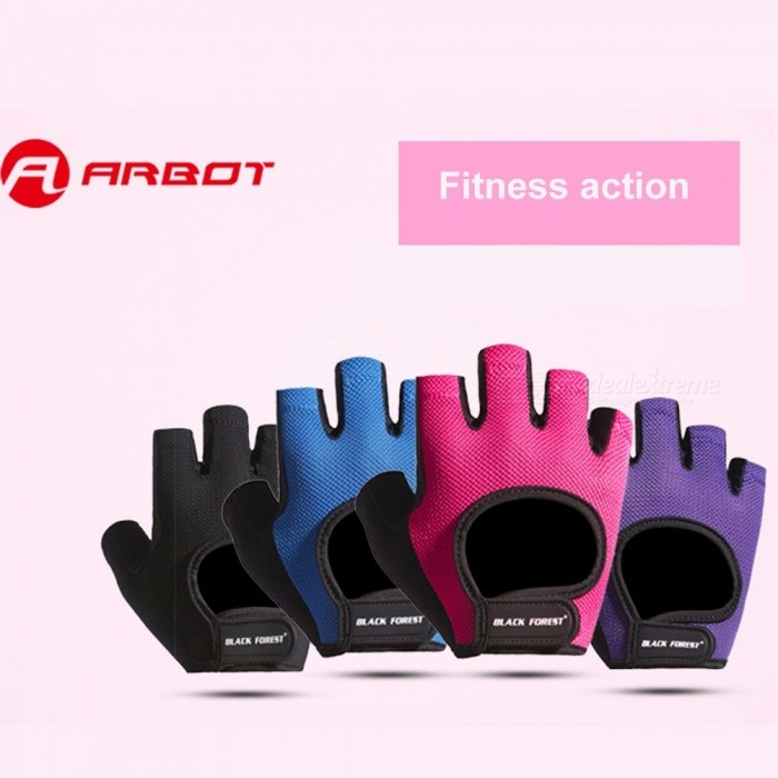 1 Pair Sports Fitness Yoga Weightlifting Training Half-Finger Gloves Breathable Gloves For Women Purple/L