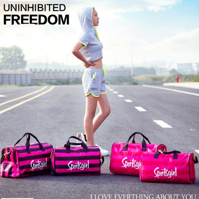 Fashion Striped Outdoor Sports Fitness Gym Bag Handbag Travel Shoulder Duffel Bag With Space For Shoes Rose