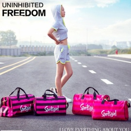 Fashion-Striped-Outdoor-Sports-Fitness-Gym-Bag-Handbag-Travel-Shoulder-Duffel-Bag-With-Space-For-Shoes-Rose
