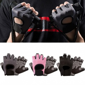1 Pair Outdoor Sports Fitness Yoga Cycling Half-Finger Gloves Anti-Slip Breathable Moisture-Wicking Gloves For Women Black/L