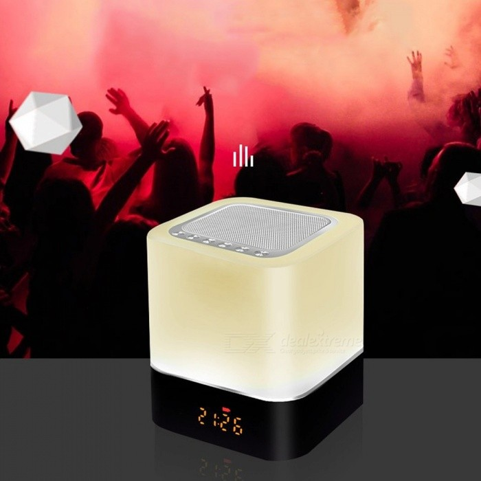 Multifuntional-Seven-Shades-Touch-Control-LED-Night-Light-With-Bluetooth-Speaker-Bedside-Lamp-With-Clock-WTF-Slot-White0-5W