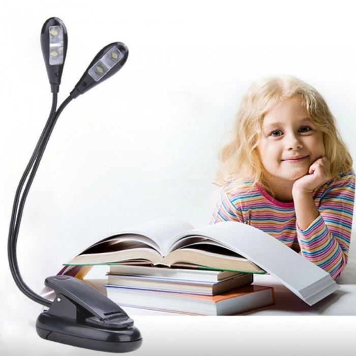 Creative Double Headed LED Clip-on Book Light Adjustable Eye Protection Reading Lamp For Dormitory White/Black