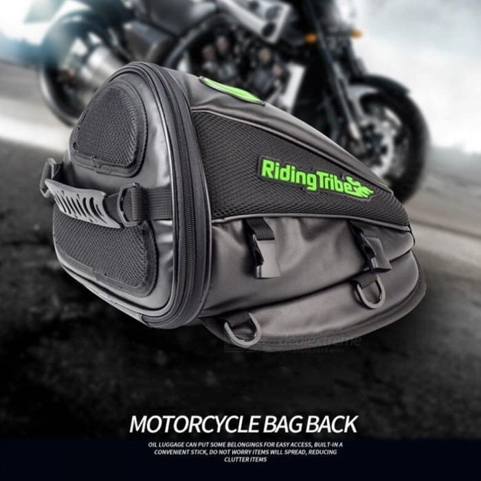 Riding Tribe Motorcycle Fuel Tank Rear Saddle Bag, Motorbike Ultra-fiber Leather Side Bag Luggage Black