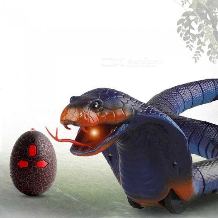 Novelty Remote Control Snake Naja Cobra Animal, Trick Terrifying Mischief Toy, RC Snaker Garden Props Joke Prank Gift Blue