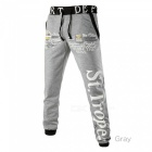 Fashion English Letter Printing Men Skateboard Trousers, Casual Elastic Waistband Hip Hop Streetwear Joggers Sweatpants Gray/M
