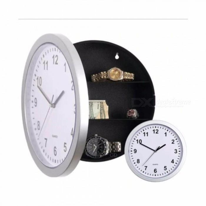 Wall Clock Safe Box, Creative Hidden Secret Storage Box Cash Money Jewelry Storage, Home Office Security Safes White